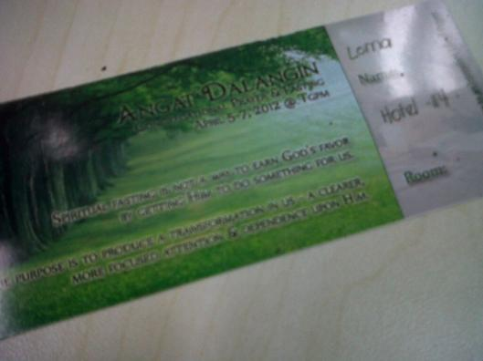 My ticket to Prayer Mountain